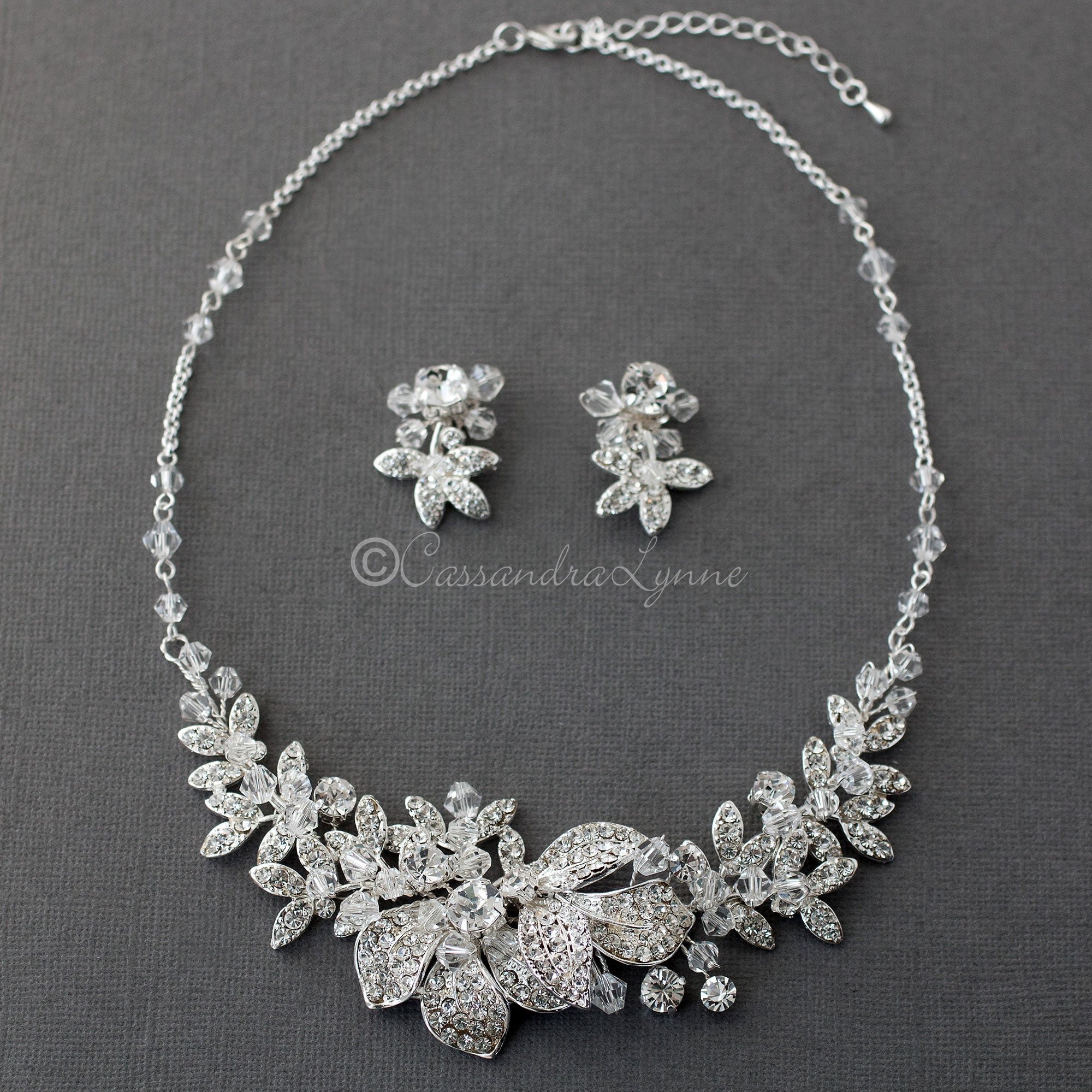 crystal vine necklace set
