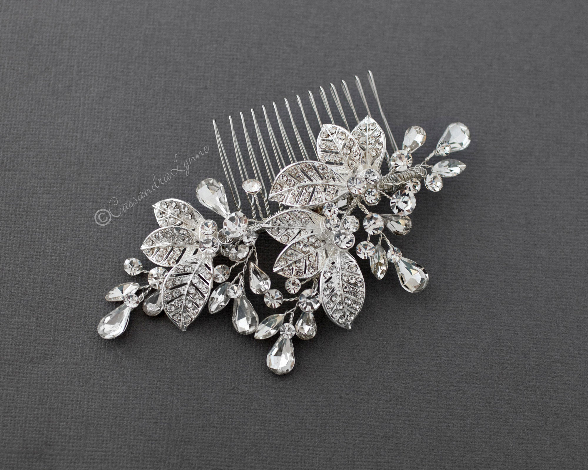 Crystal Leaf Clusters Bridal Hair Comb