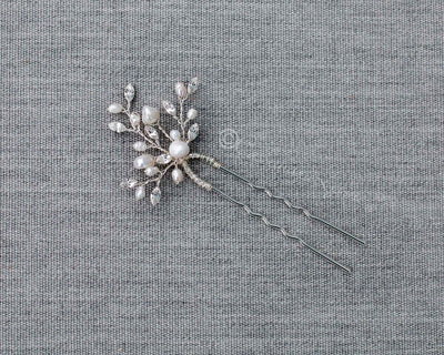 Pearl Hair Pin with Marquise Crystals