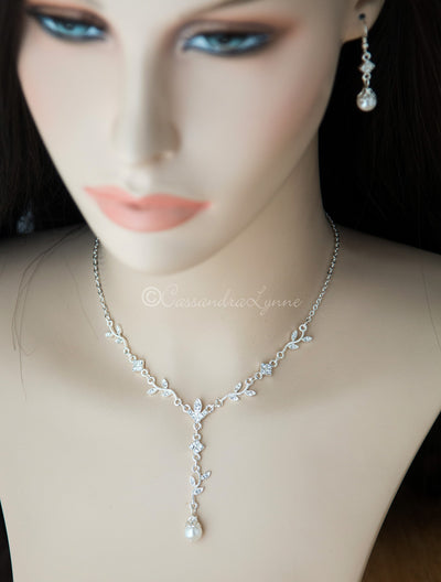 Crystal Vine Bridal Necklace Set with Pearls
