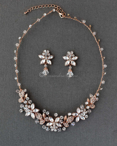 Rose Gold Crystal Flowers Bridal Necklace Set