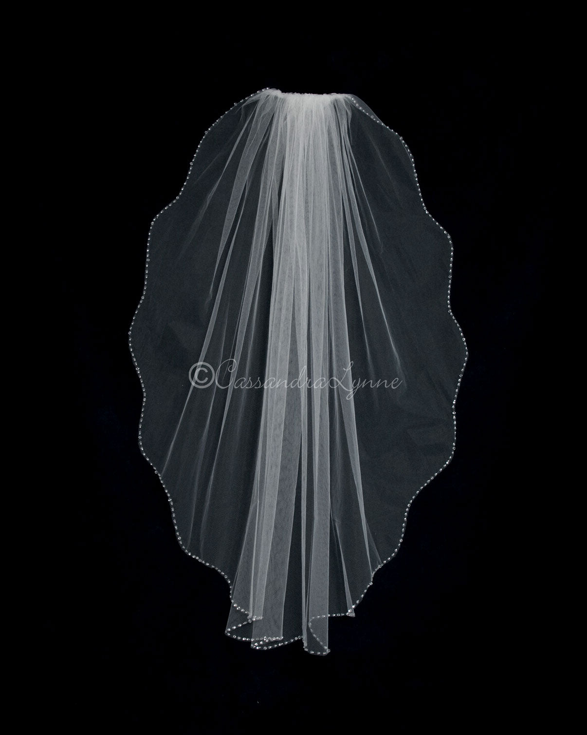 Crystal and Sequins Beaded Fingertip Wedding Veil