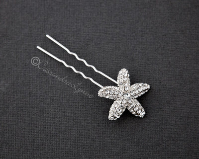 Bridal Hair Pin of a Crystal Starfish