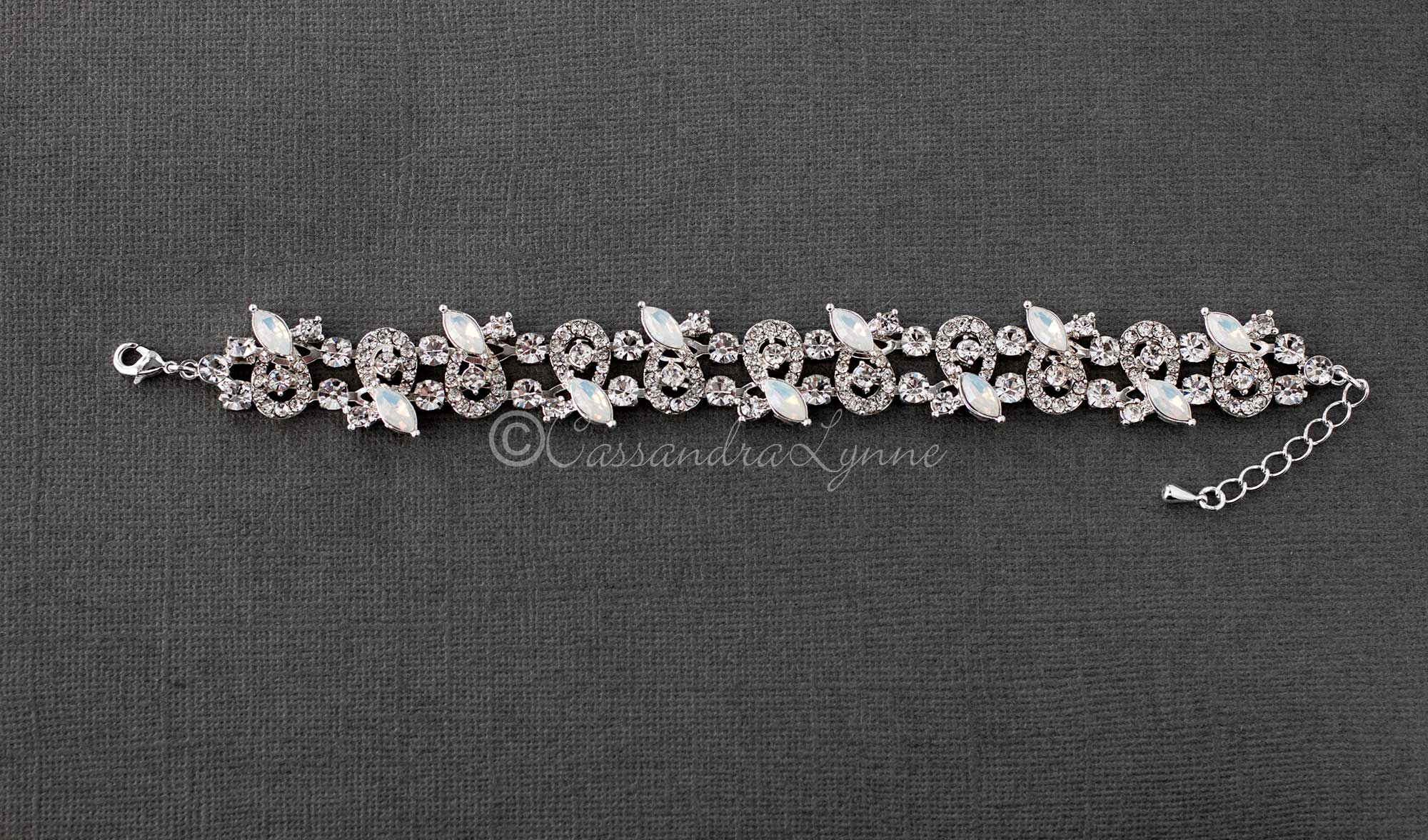 Crystal Bridal Bracelet with Opal Marquise Stones