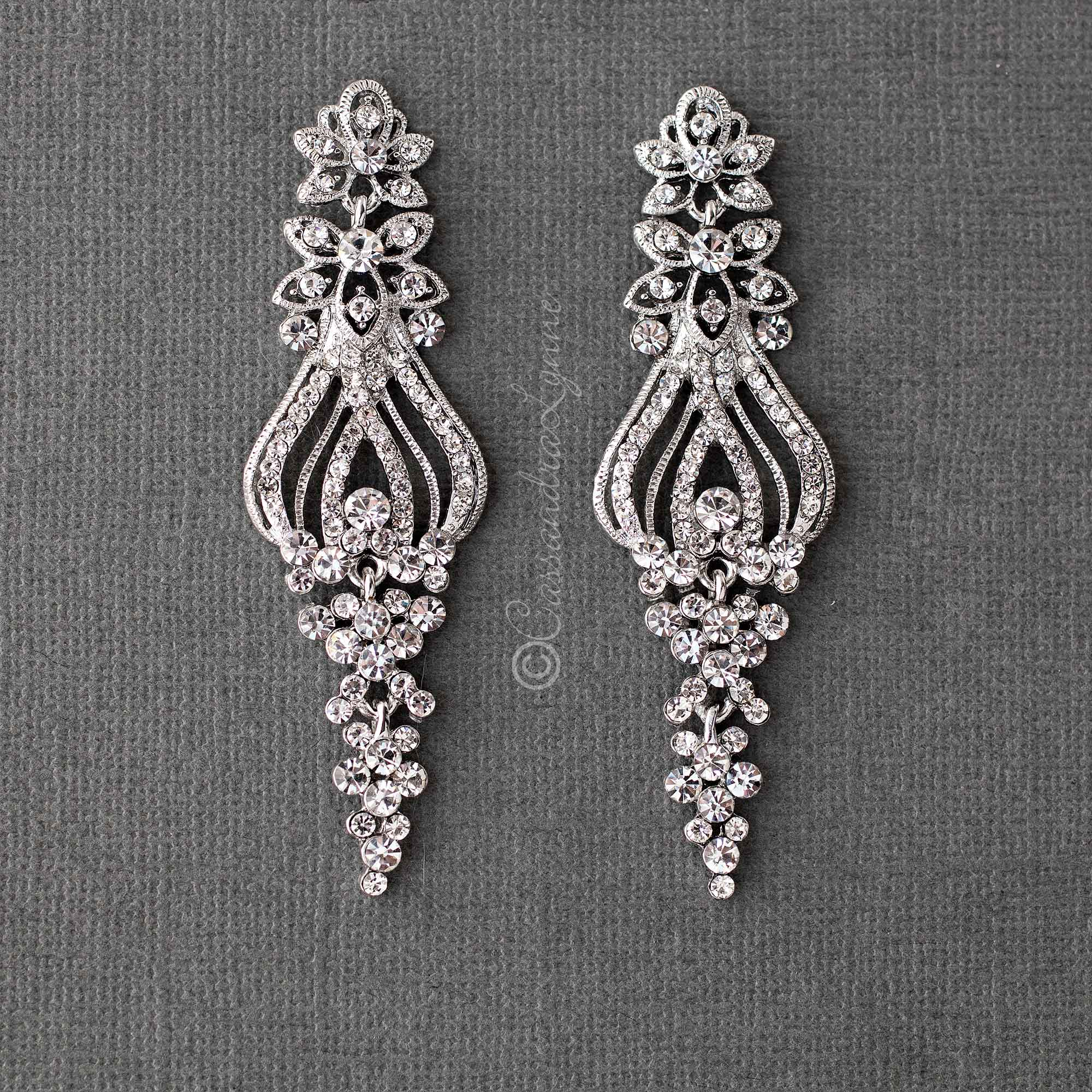 Crystal Floral Earrings for the Bride