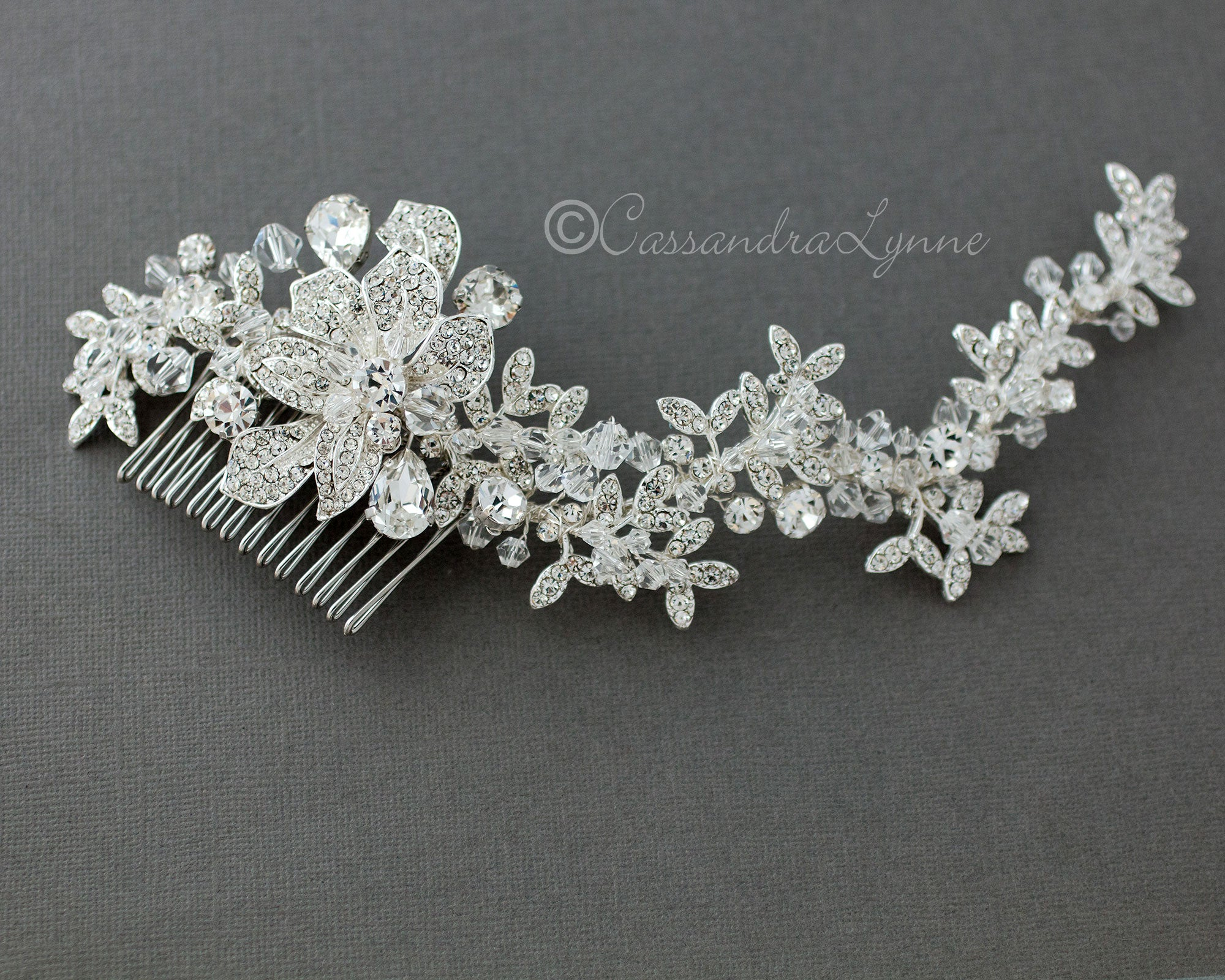 crystal headpiece for the bride