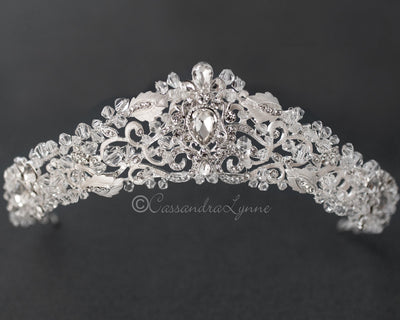 Crystal Beaded Tiara with Pear Stone Accents