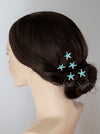 Crystal Starfish Hair Pins Silver and Aqua