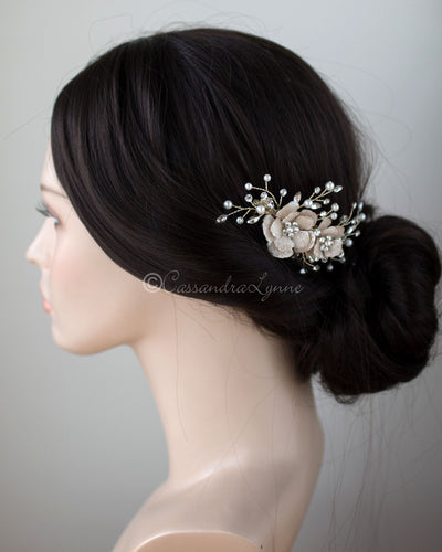 Gold Crystalline Bridal Hair Flower