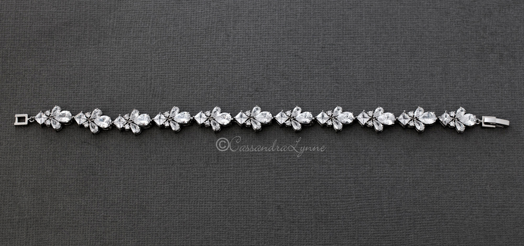 Wedding Bracelet with Pear Cubic Zirconia