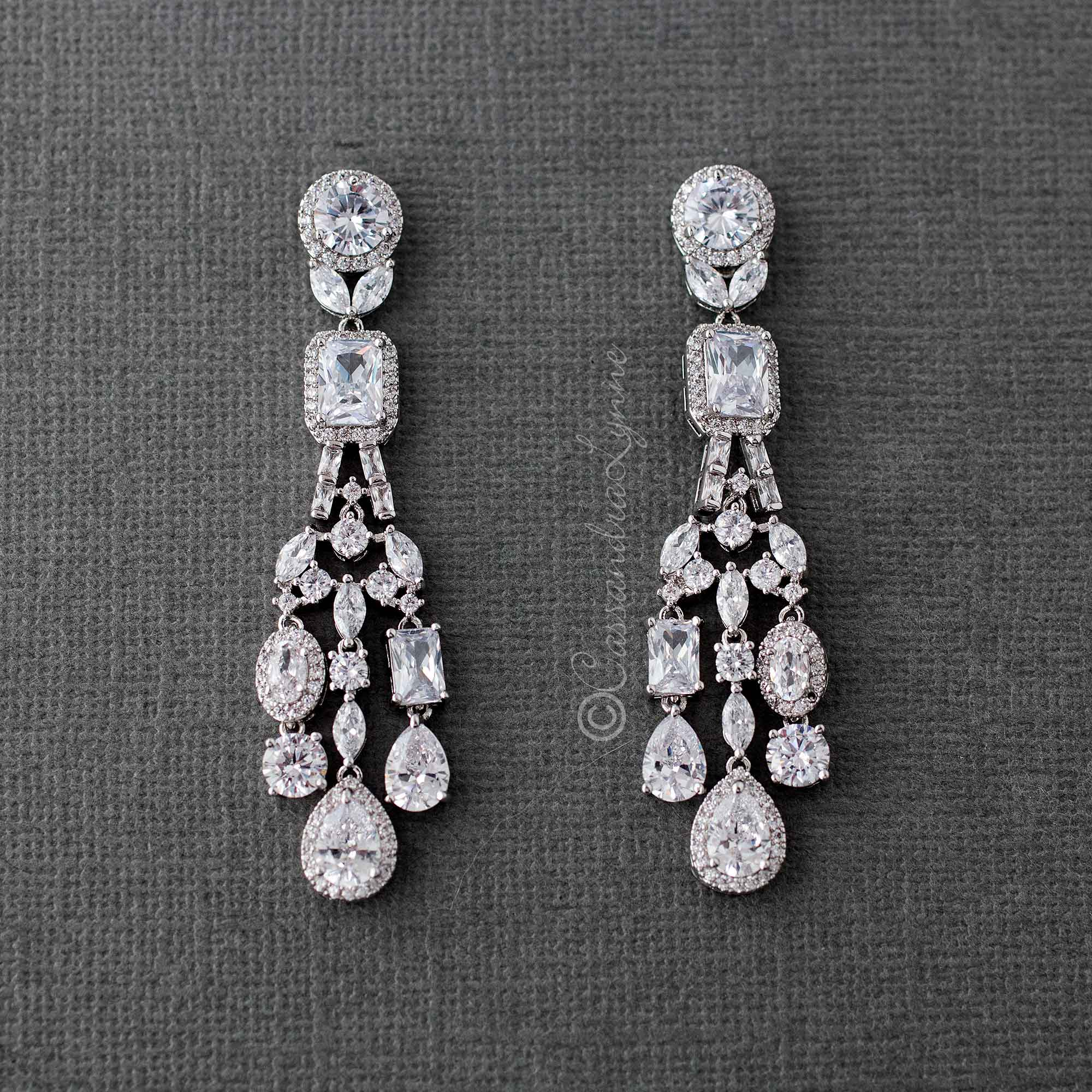Petite CZ Chandelier Bridal Earrings