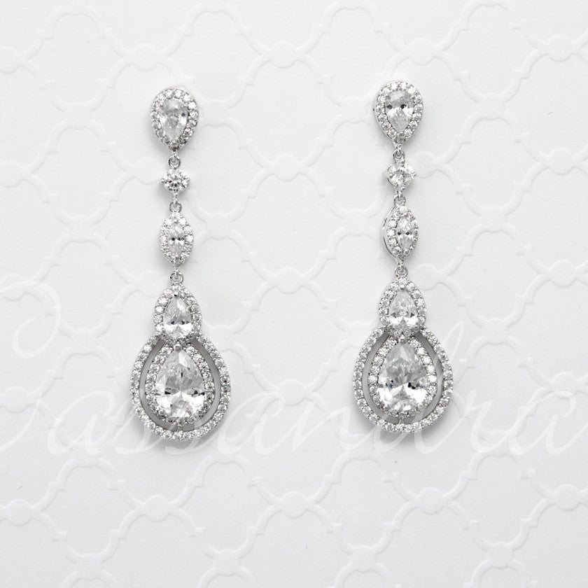 Cubic Zirconia Earrings Pave Teardrop and Marquise Stones
