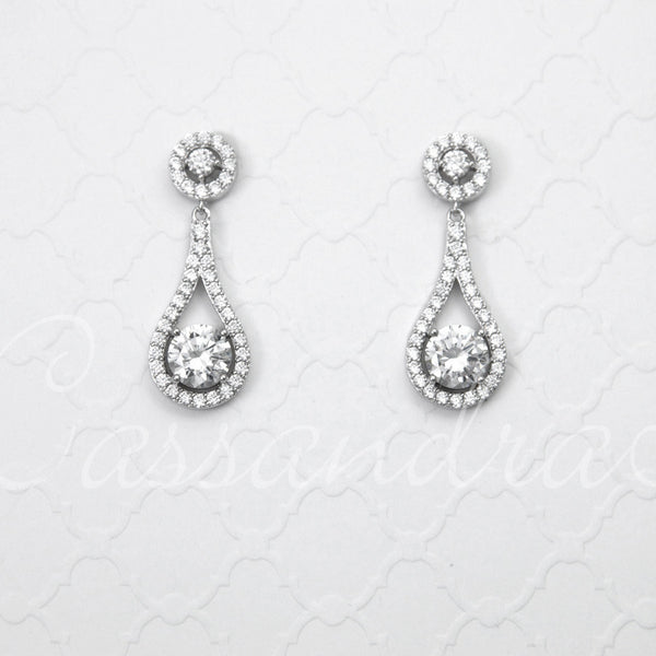 Cubic Zirconia Sterling Silver Drop Earrings Teardrop Shaped