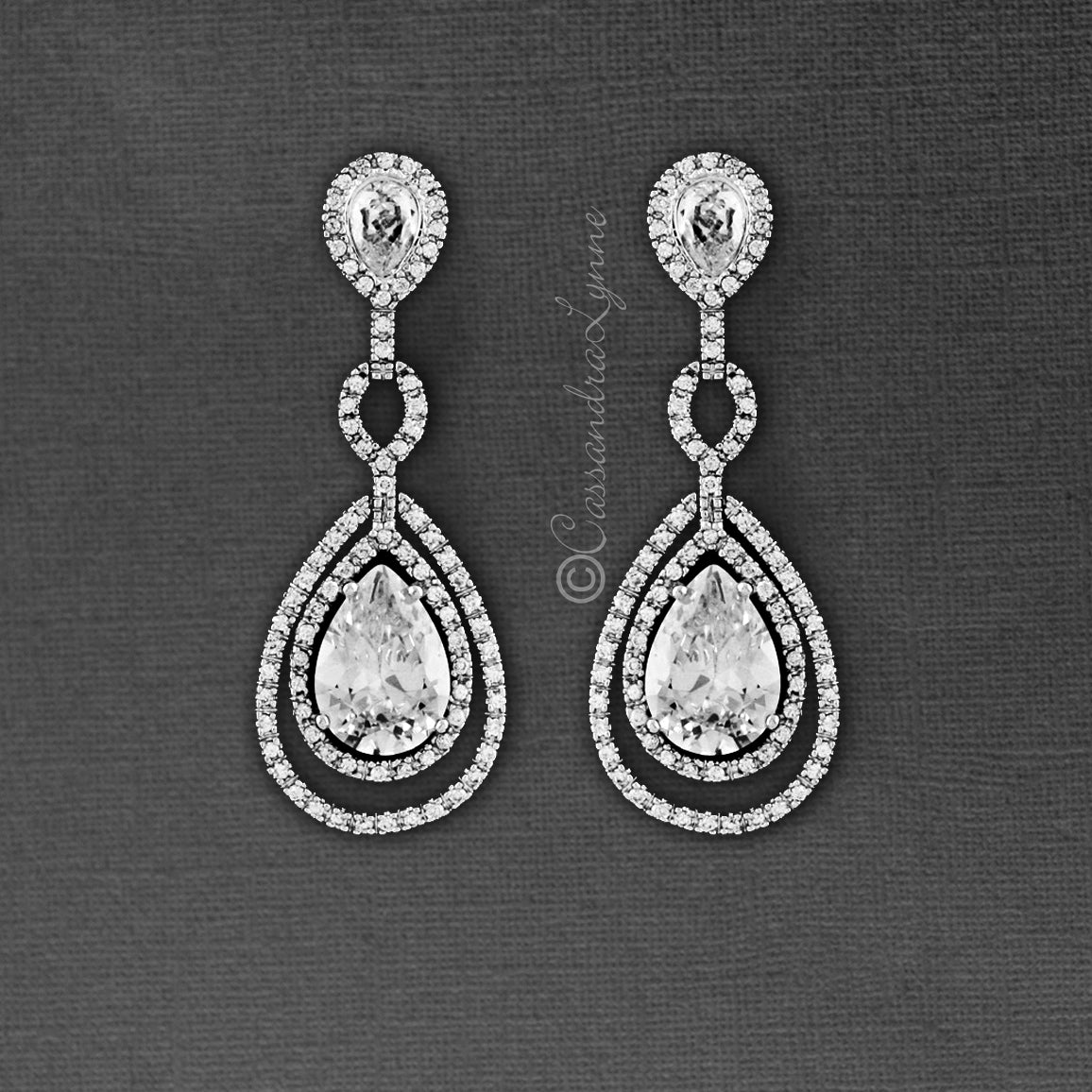 Clip-On Classic Bridal Earrings of Layered Teardrop CZ