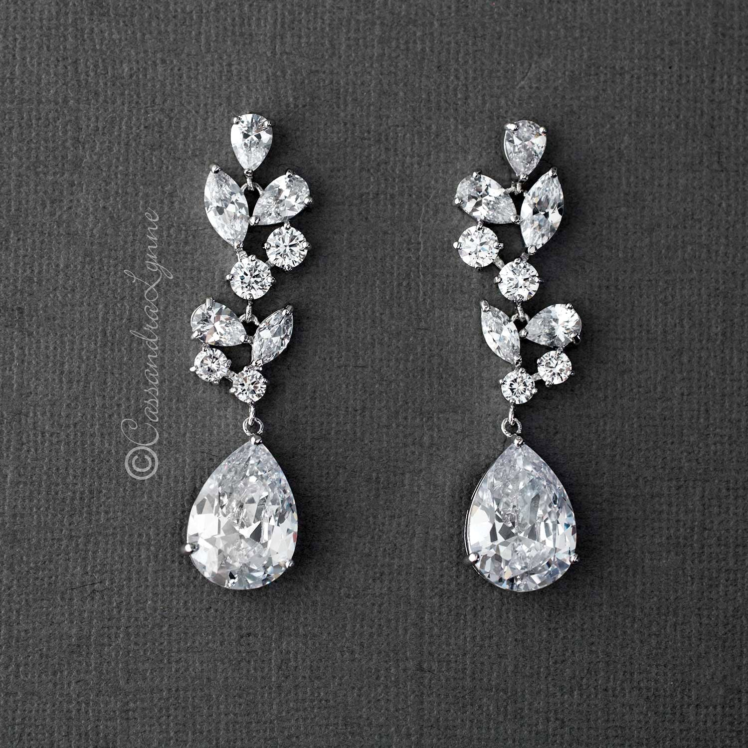Bridal Earrings of Large CZ Drops