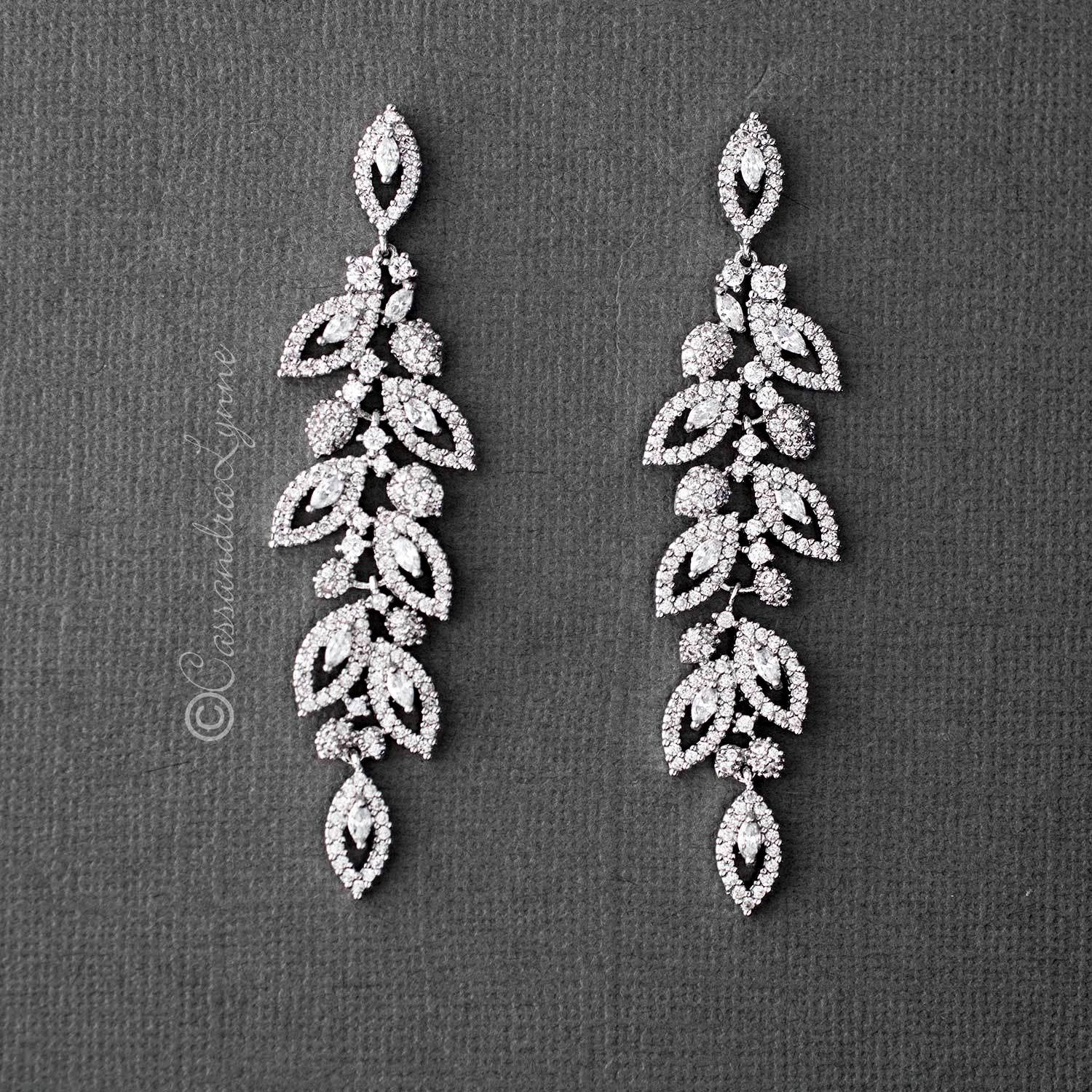Pave Leaf CZ Chandelier Earrings