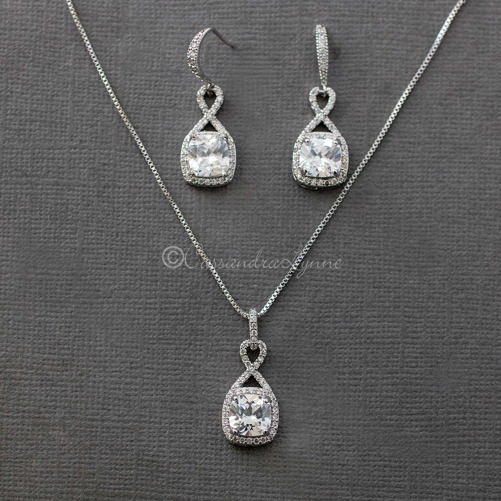 CZ Figure Eight Princess Cut Necklace Set