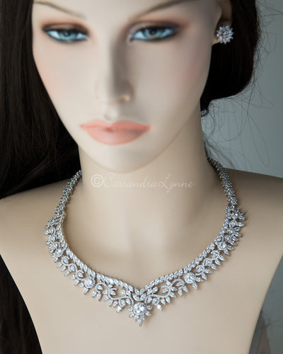 Scrolling Floral Cubic Zirconia Necklace Set