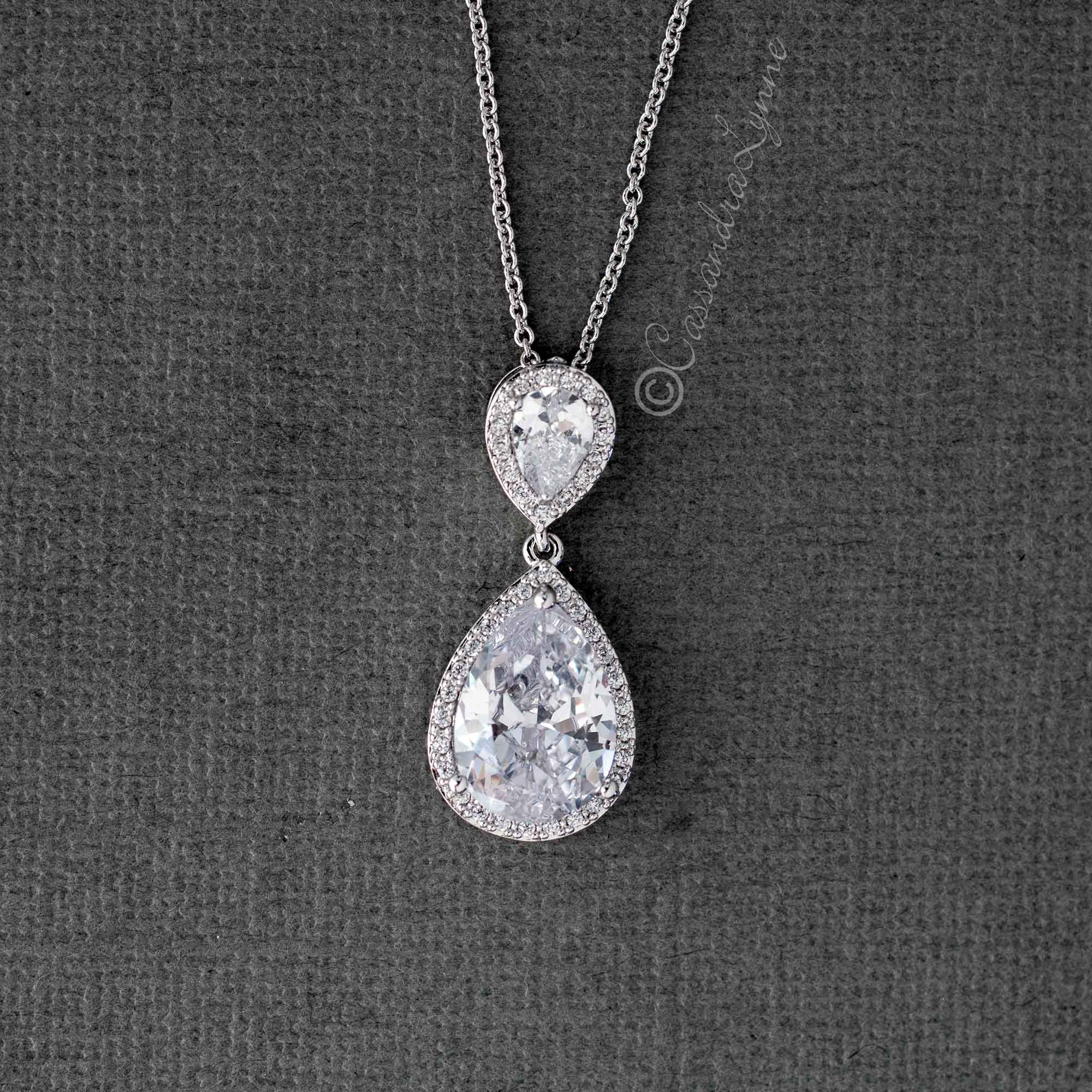 CZ Water Drop Pendant Necklace