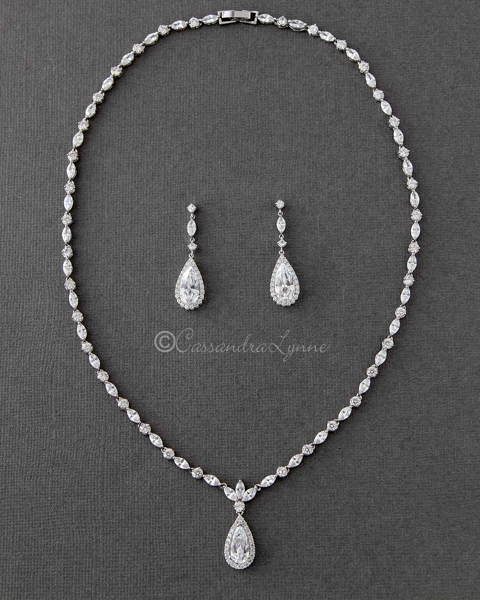 Sterling Silver CZ Necklace Set of Elongated Teardrops