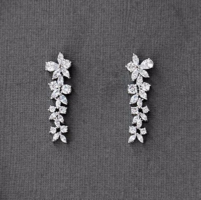 CZ Flower Dangle Earrings for Wedding