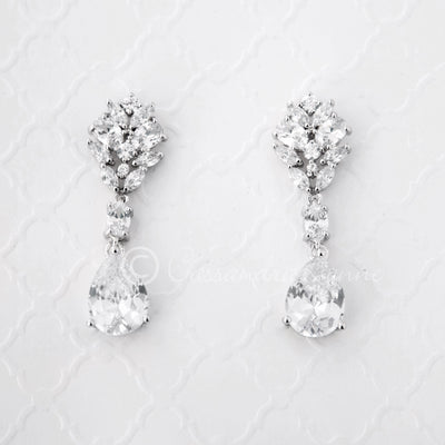 CZ Bridal Earrings Oval and Marquise Teardrop