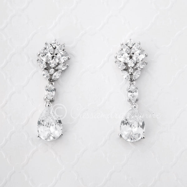 Clip-On CZ Bridal Earrings Oval and Marquise Teardrop