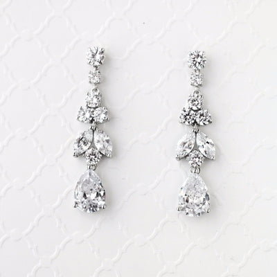 CZ Wedding Earrings Jewel Drop Dangles