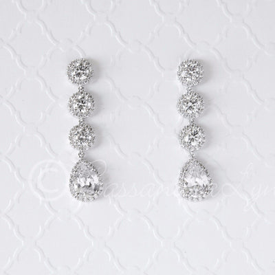 Sterling CZ Bridal Earrings of Pave Round Drops