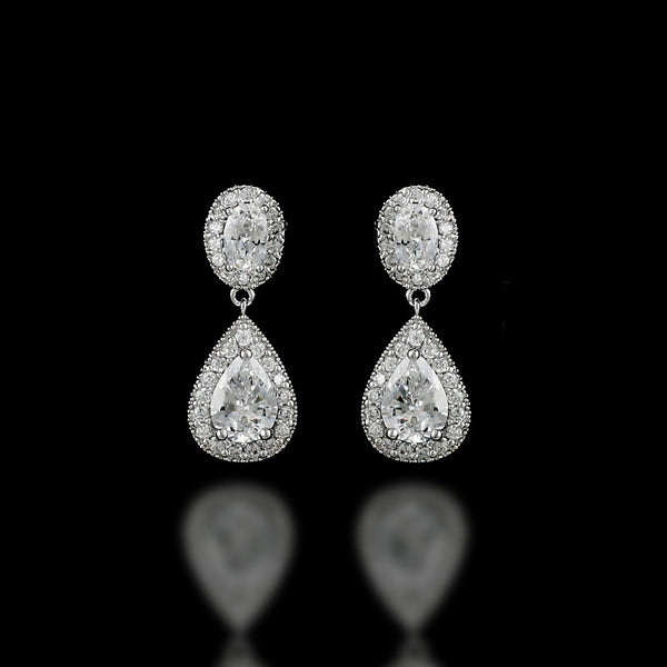 Clip-On CZ Drop Earrings for Brides of Oval and Teardrop Jewels