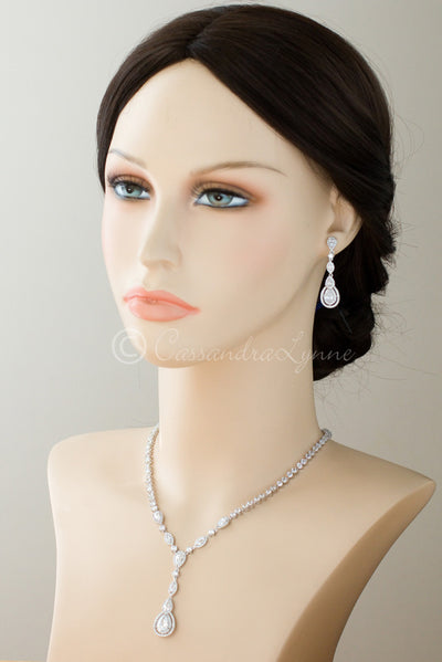 Vintage CZ Necklace and Earrings Set