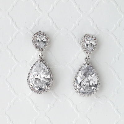 Pear Drop CZ Earrings for the Bride Clip-on