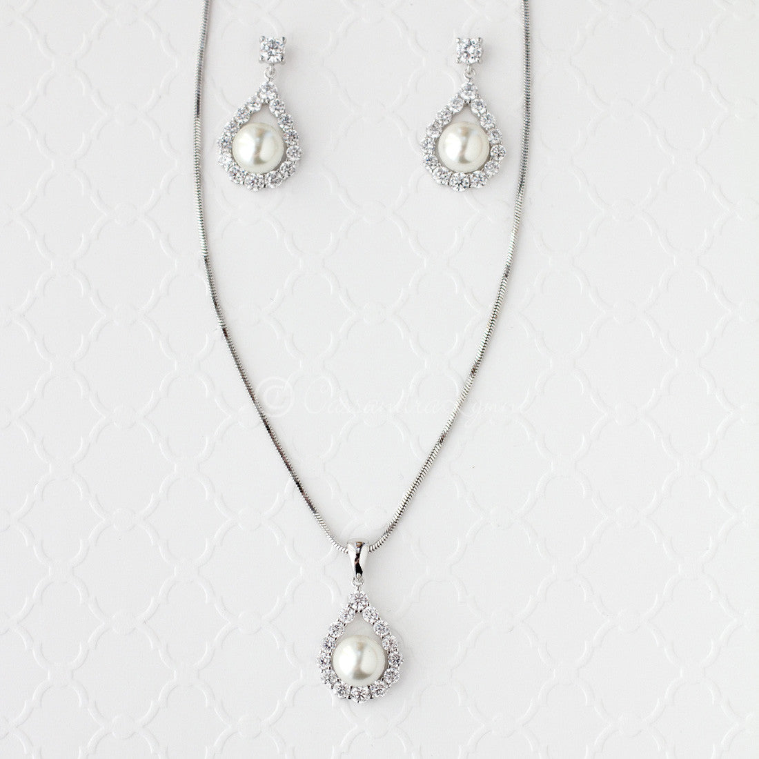 Wedding Jewelry Set of Pearl Drops
