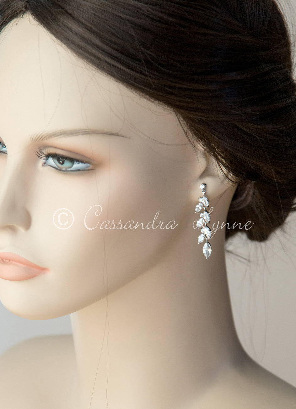 CZ Wedding Earrings with a Marquise Vine Design