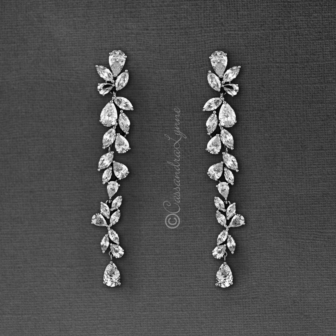 Bridal Earrings of Teardrop and Marquise CZ Sterling Silver