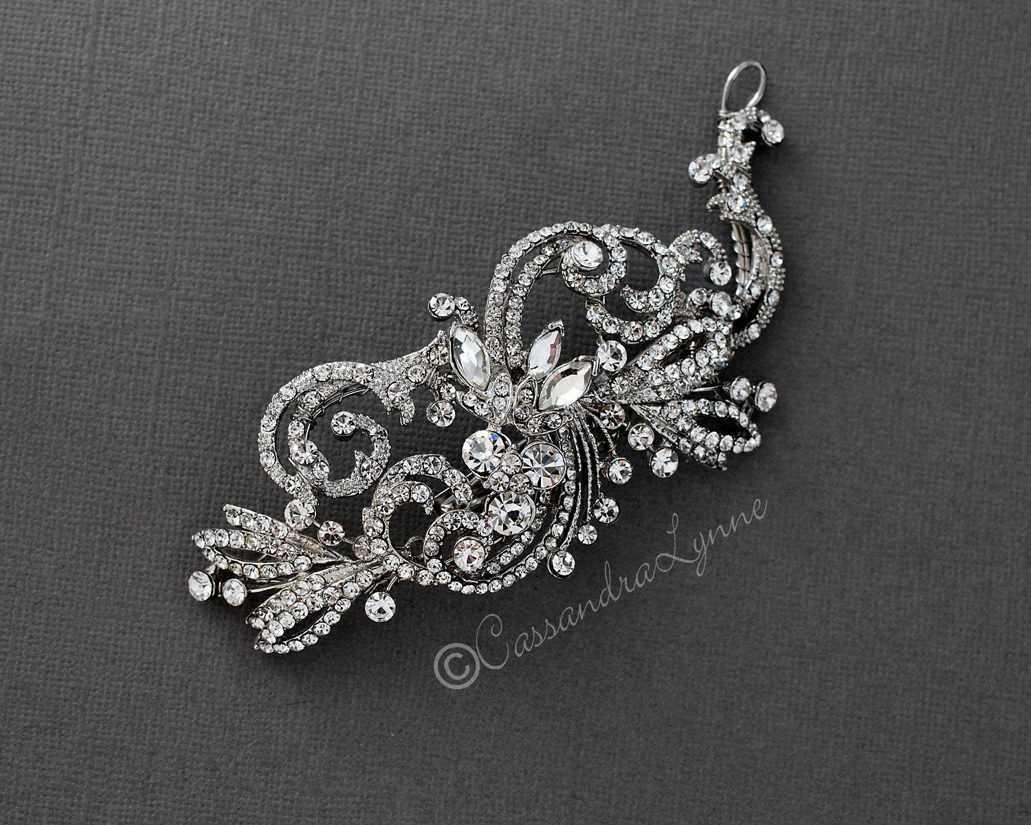 Dark Silver Wedding Hair Clip of Scrolls and Marquise Jewels