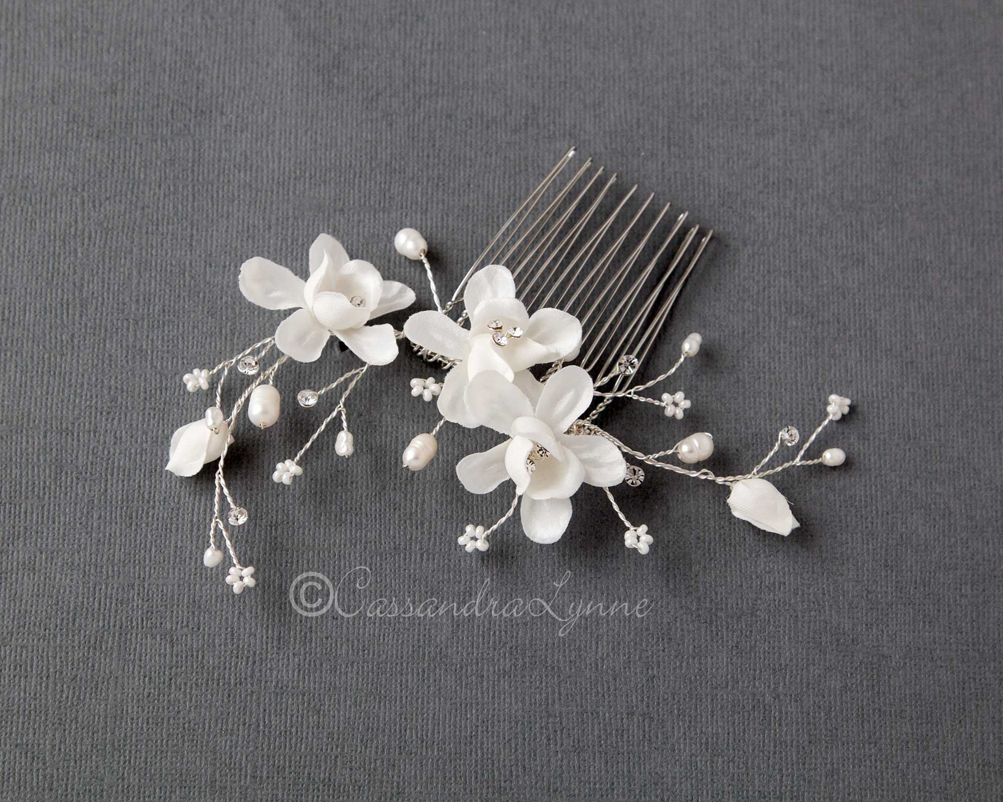 Pearl and Bead Bridal Hair Flower