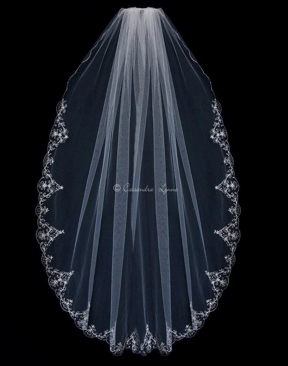 Silver Embroidered Waltz Veil with Beads