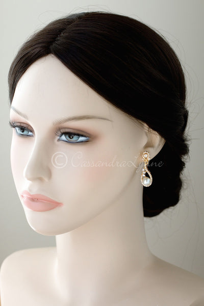 Delicate CZ Drop Earrings with Pearls for the Bride