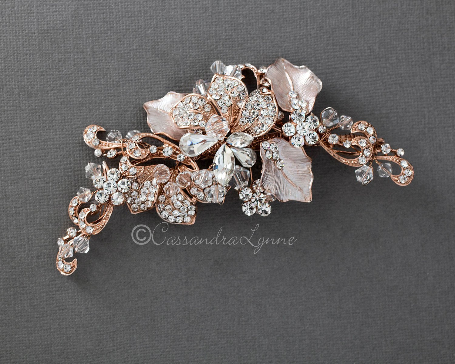 Bridal Headpiece of Frosted Rose Gold and Crystal Leaves