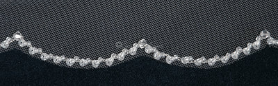"36"" Scalloped Sequins and Beads Bridal Veil"