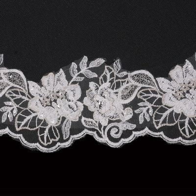 Fingertip Silver Accented Lace Wedding Veil