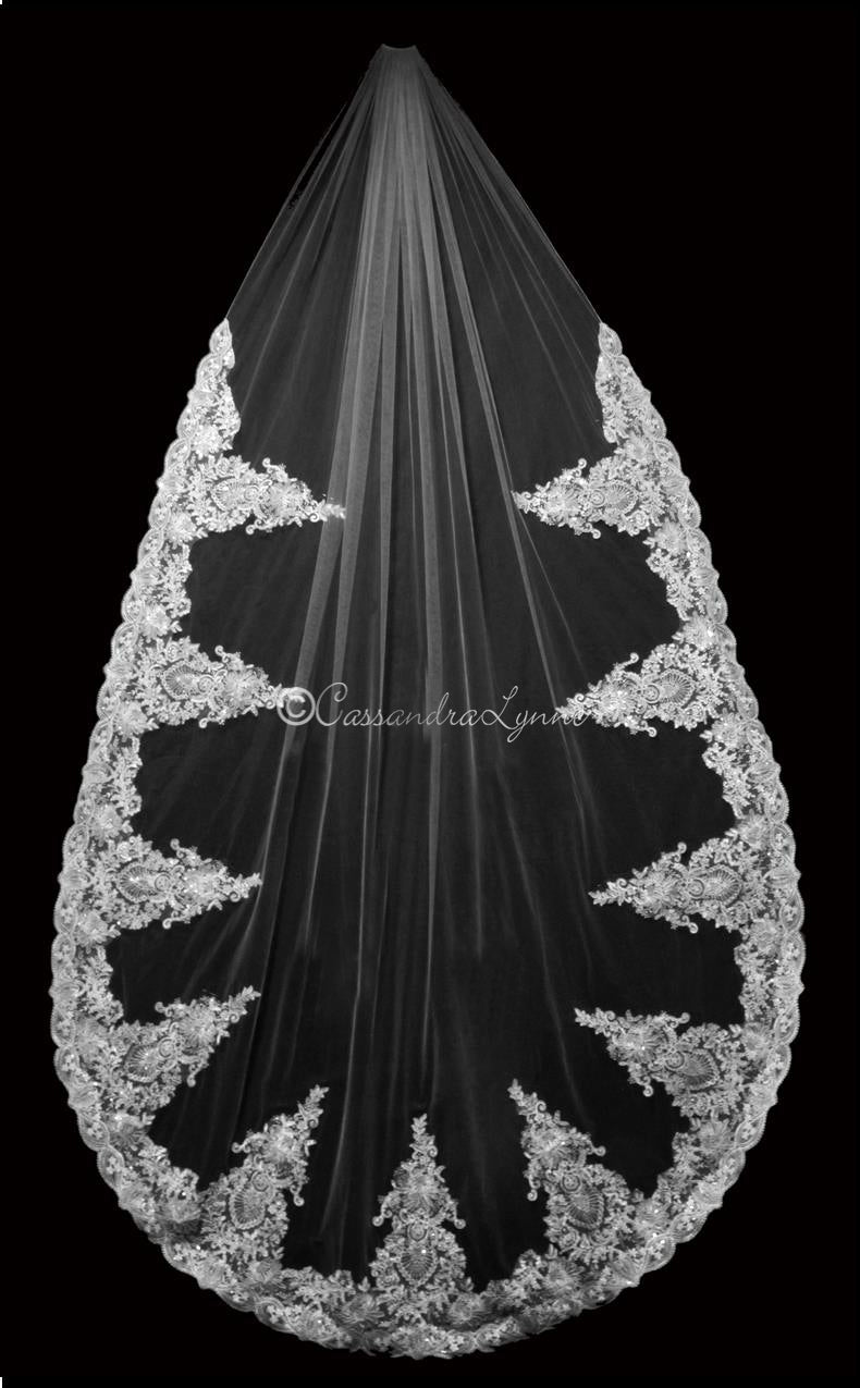 Dramatic Lace Cathedral Bridal Veil