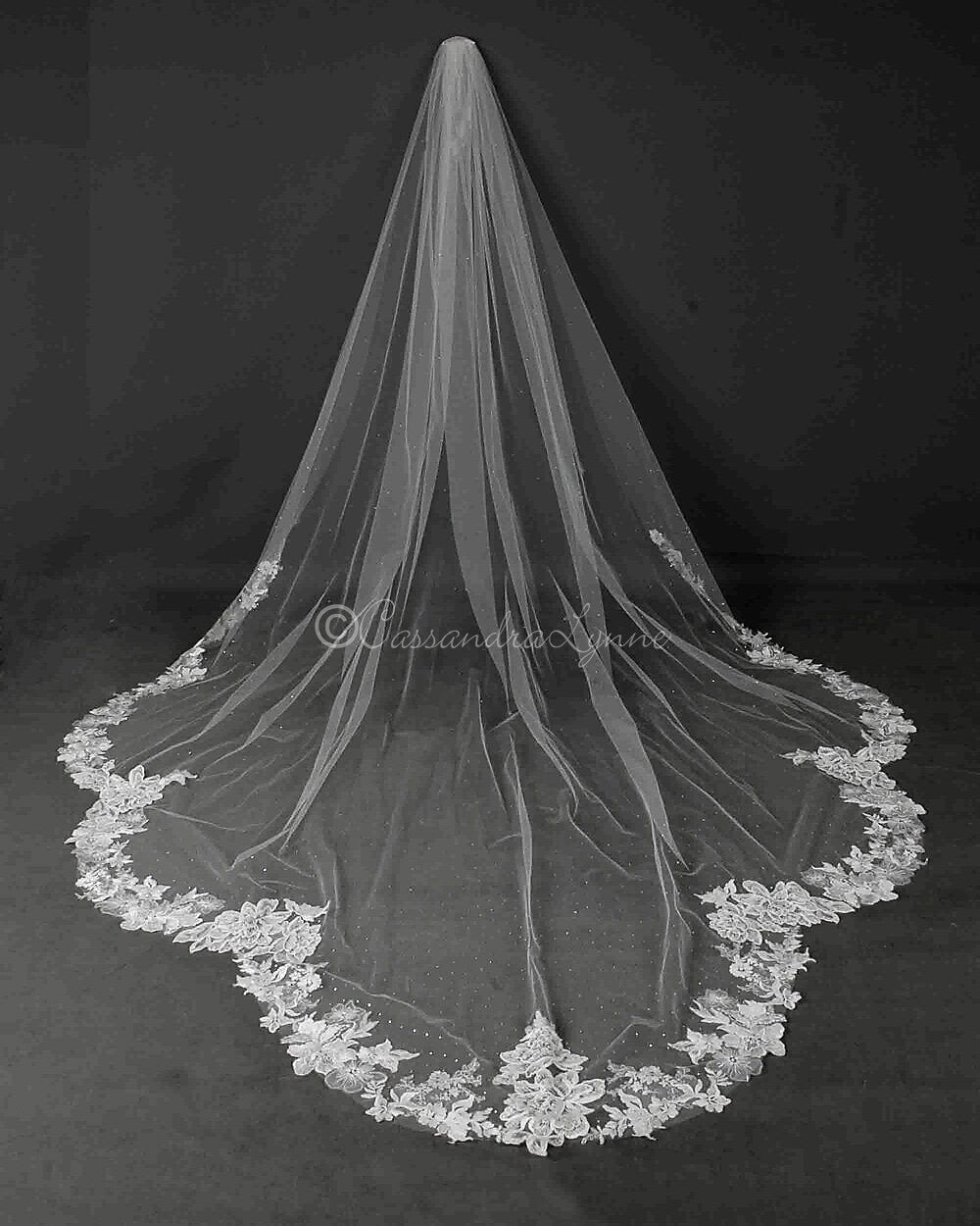 Dramatic Scallop Royal Length Lace Bridal Veil