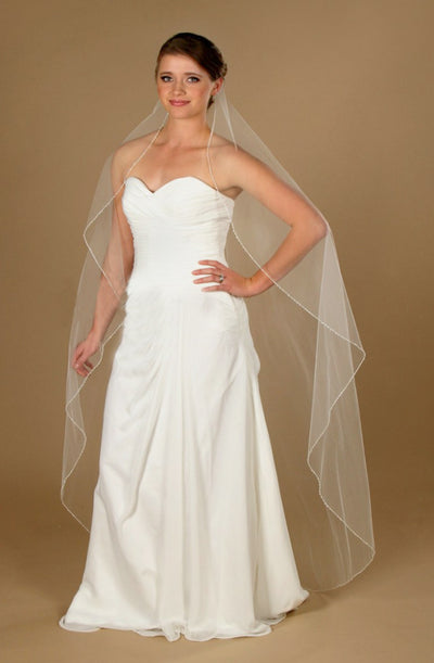 Bridal Veil with Beaded Embroidered Edge 66""