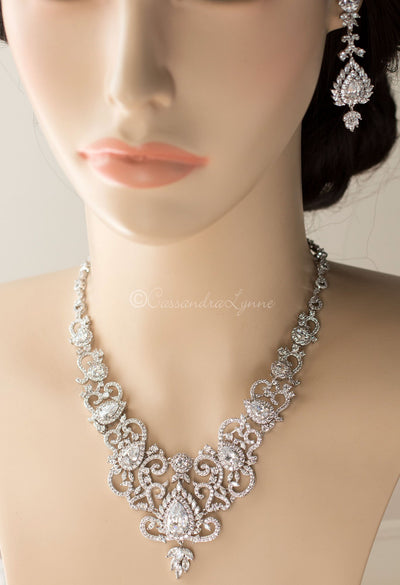Luxury CZ Bridal Necklace and Earrings