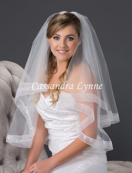 Two Tier Wedding Veil with Wide Sheer Organza Ribbon Trim