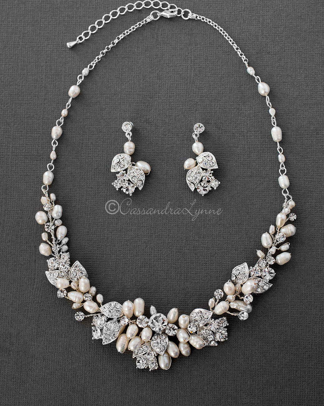 Crystal and Ivory Pearl Wedding Jewelry Set
