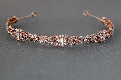 Elegant Rose Gold Wedding Headband