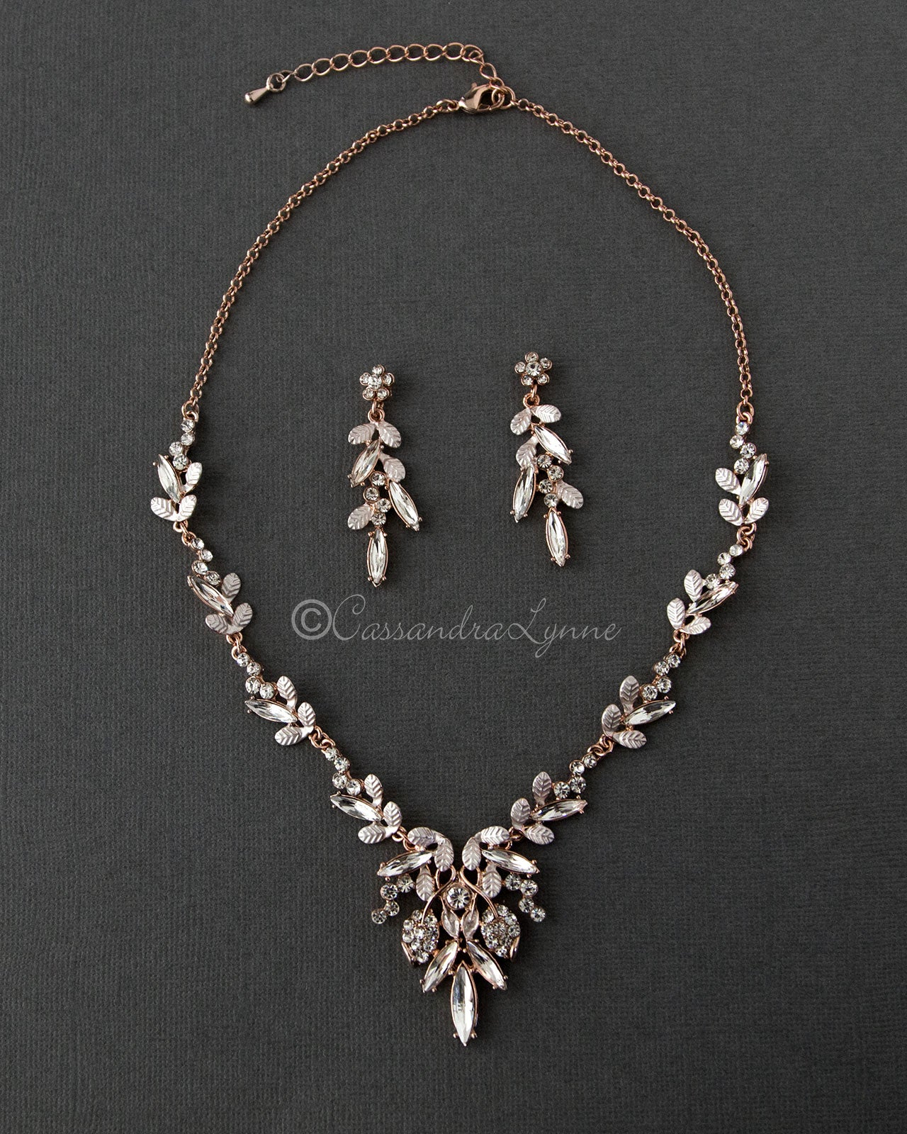 17d60b382b0af Rose Gold and Gold Bridal Earrings Bracelets and Necklaces ...